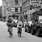 Copenhagen Lovers On Bicycles Bw Art Print