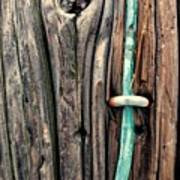 Copper Ground Wire And Knothole On Utility Pole Art Print
