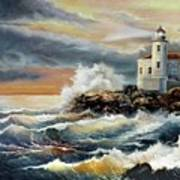 Coquille River Lighthouse At Hightide Art Print