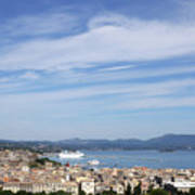 Corfu Town And Port With Cruiser Cityscape Art Print