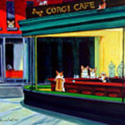 Corgi Cafe After Hopper Art Print