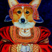 Corgi Queen Art Print by Lyn Cook