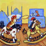 Pembroke Welsh Corgi Rainy Day Cowboys Art Print