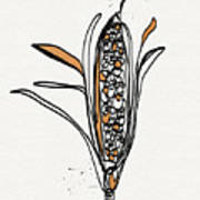 corn- contemporary art by Linda Woods Art Print