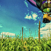 Cornfield View Hot Air Balloons Art Print by Bob Orsillo