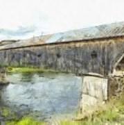 Cornish Windsor Covered Bridge Pencil Art Print