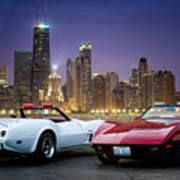 Corvettes In Chicago Art Print