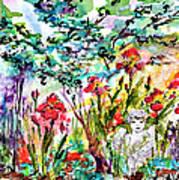 Cottage Garden Angel And Irises Art Print