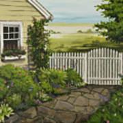 Cottage Garden Beach Getaway Art Print