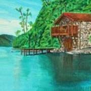 Cottage On Lake  Art Print
