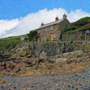 Cottage On Rocks At Port Quin - P4a16009 Art Print