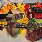 Cottages By A Lake In Autumn  Art Print
