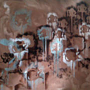 Cotton Impression In Brown And Teal Art Print