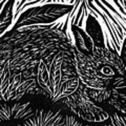 Cottontail Block Print Print by Ellen Miffitt
