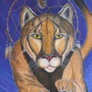 Cougar Medicine With Cobalt Blue Background Art Print