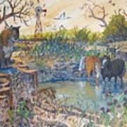 Cougar N Horses Art Print