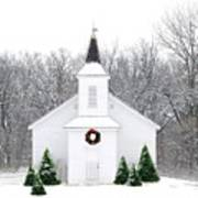 Country Christmas Church Art Print