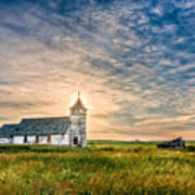 Country Church Sunrise Art Print