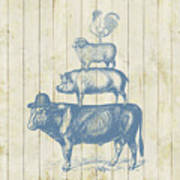 Country Farm Friends Art Print