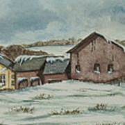 Country Farm In Winter Art Print