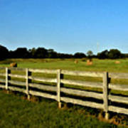 Country Scene With Field And Hay Bales Art Print