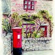 Country Village Post Box Art Print