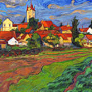 Country With The Red Roofs Art Print