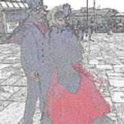 Couple In Red Art Print