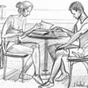 Couple Reading Black And White Art Print