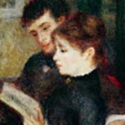 Couple Reading Print by Pierre Auguste Renoir