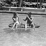 Couple Relaxing In Pool, C.1930-40s Art Print