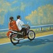 Couple Ride On Bike Art Print