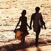 Couple Wading In Ocean Art Print