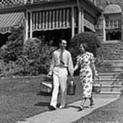 Couple Walking Out Of House, C.1930s Art Print