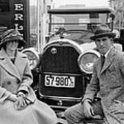 Couple With Their Peerless Car Art Print