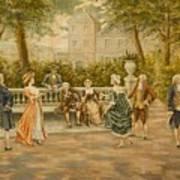 Couples On Veranda Of Chateau Art Print