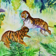 Courting Tigers. Art Print by Larry  Johnson
