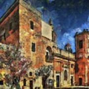 Courtyard, Mellieha, Malta Art Print
