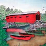 Covered Bridge And Canoes Art Print