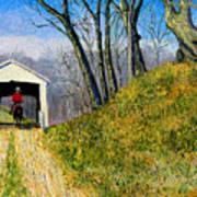Covered Bridge And Cowboy Art Print