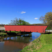 Covered Bridge And Reflection Art Print