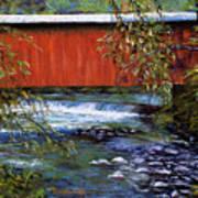 Covered Bridge And  Wissahickon Creek Art Print by Joyce A Guariglia