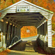 Covered Bridge Impasto Oil Art Print