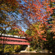 Covered Bridge Over The Swift River In Conway Art Print