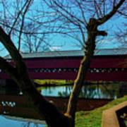 Covered Bridge Vivid Afternoon Art Print