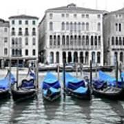 Covered Gondolas In Blue Art Print