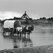 Covered Wagon River Ford And Cable Ferry 1903 Art Print