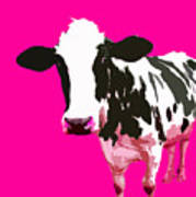 Cow In A Pink World Art Print