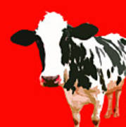 Cow In Red World Art Print