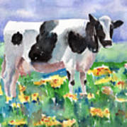 Cow In The Meadow Art Print